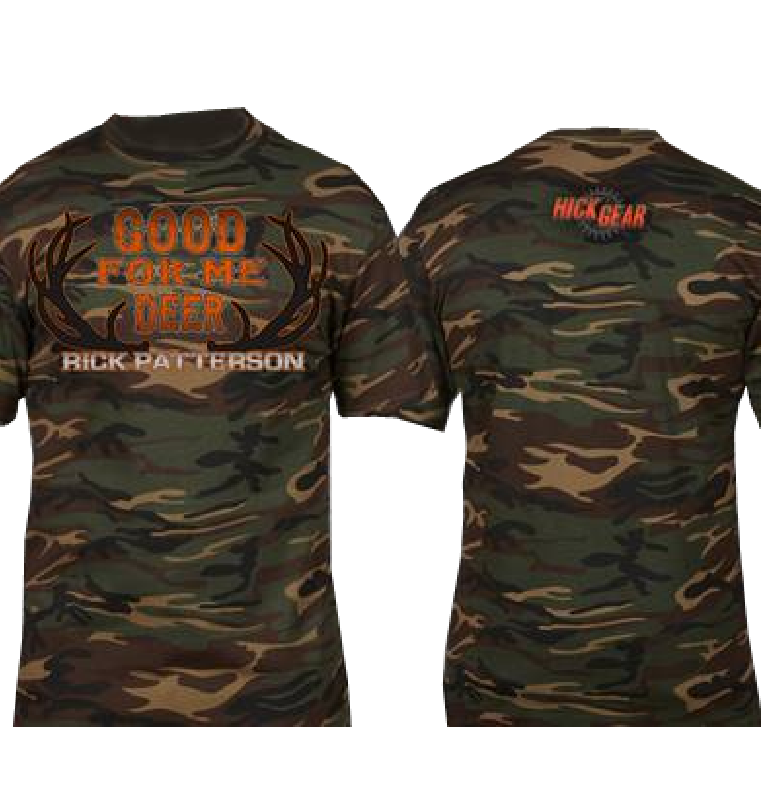Rick Patterson Good For Me Deer Camo Tee in Orange