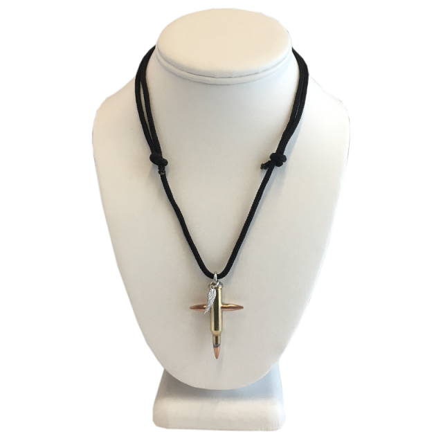 Medium Bullet Cross Necklace .17 Hornet